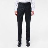 Paul Smith Men's Slim-Fit Navy 'Botanical' Embroidered Wool Trousers