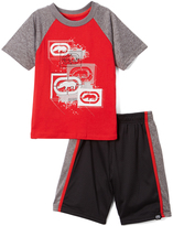 Ecko Unlimited Red & Gray Rhinos & Paint Splatter Tee & Shorts - Toddler & Boys