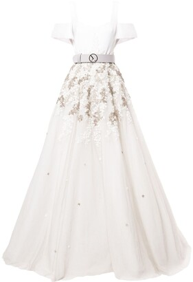 Saiid Kobeisy Cold-Shoulder Flared Maxi Dress