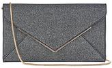 Oasis Glitter Envelope Clutch Bag, Metallic Pewter