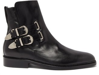 Toga Virilis Buckled Leather Ankle Boots - Black