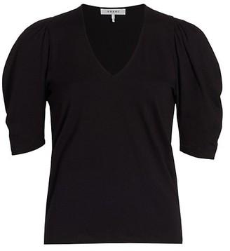 Frame Shirred Puff-Sleeve Top