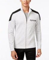 INC International Concepts Men's Ribbed Zip-Front Jacket with Faux-Leather Trim, Only at Macy's