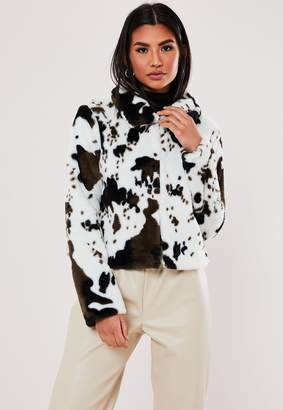 Missguided White Cow Print Faux Fur Trucker Jacket