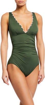 Kate Spade plunge one-piece ruched scallop edge swimsuit