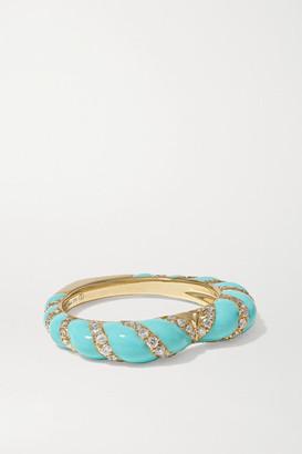 Yvonne Léon 9-karat Gold, Enamel And Diamond Ring - 6