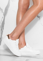 Missy Empire Hani White Rose Gold Metallic Detail Trainers