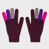 Paul Smith Men's Plum Wool Gloves With Multi-Coloured Fingers