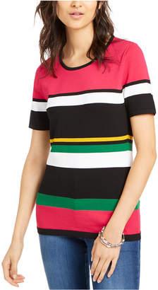 INC International Concepts Inc Petite Short-Sleeve Striped Sweater