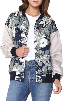 James Jeans Varsity Hibiscus-Print Bomber Jacket