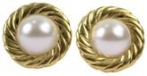 Chanel Gold Tone Metal Pearl Earrings