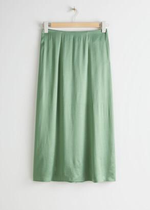 And other stories Satin Cupro Midi Skirt