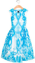Oscar de la Renta Girl' Abstract Print A-Line Dress