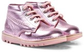 Kickers Pink Metallic Leather Kick Hi Boots