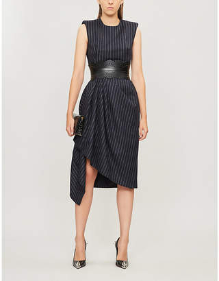 Alexander McQueen Sleeveless pin-striped wool midi dress