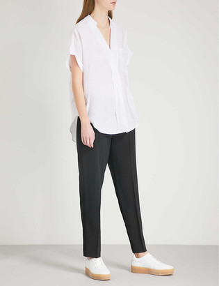 Whistles Anna high-rise tapered wool-blend trousers