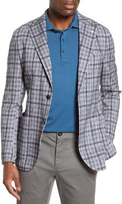 Lubiam Trim Fit Plaid Cotton Sport Coat
