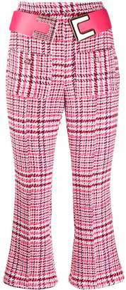 Elisabetta Franchi high rise houndstooth cropped trousers