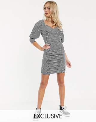 Another Reason ruched front mini bodycon dress with puff sleeves in stripe-Multi