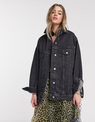 Topshop oversized denim jacket in washed black