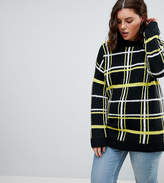 Asos Oversized Jumper With Check Pattern