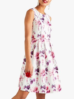 Yumi Floral Print Occasion Dress, White