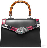 Gucci Lilith Bamboo Small Embellished Elaphe-trimmed Leather Tote - Black