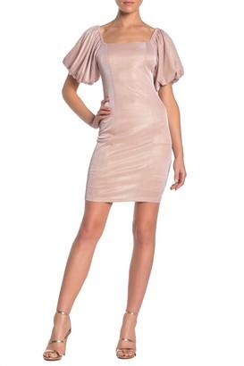 Ontwelfth Metallic Puffed Sleeve Mini Dress