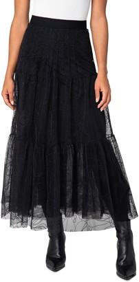 Akris Punto Sashiko Embroidered Tulle A-Line Midi Skirt