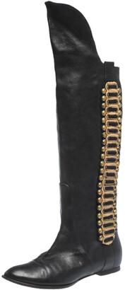 Roberto Cavalli Black Leather Metal Embellsihed Knee Length Boots Size 38