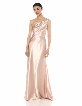 Jenny Yoo Women's Lena One Shoulder Satin Crepe Long Gown