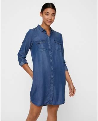 Vero Moda Denim Shirt Dress with Long Sleeves and Pockets