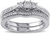 JCPenney MODERN BRIDE 1/3 CT. T.W. Diamond 10K White Gold 3-Ring Bridal Ring Set