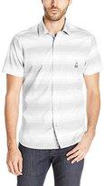 Psycho Bunny Men's Ombre Stripe Short Sleeve Button Down Shirt