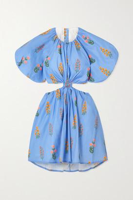 Agua Bendita Laurel Cutout Floral-print Cotton-poplin Mini Dress - Blue