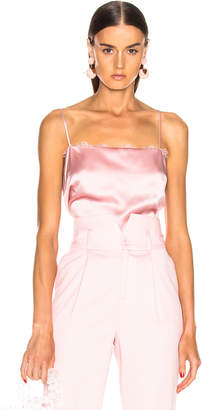 Fleur Du Mal Lace Straight Neck Cami in Coral Blush | FWRD