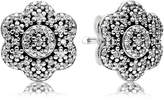 Pandora Crystallised Floral Stud Earrings - Sterling Silver