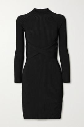 Dion Lee Cutout Twist-front Ribbed-knit Mini Dress - Black