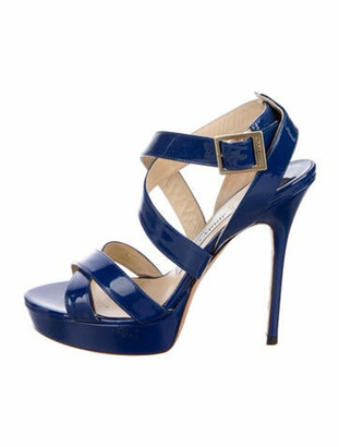 Jimmy Choo Patent Leather Cutout Accent Sandals Blue