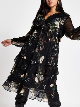 River Island Ri Plus RI Plus Embellished Midi Smock Dress - Black