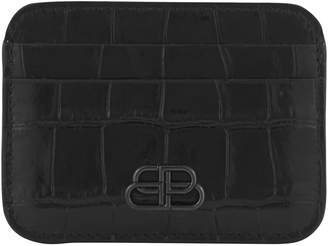 Balenciaga Embossed BB leather card holder