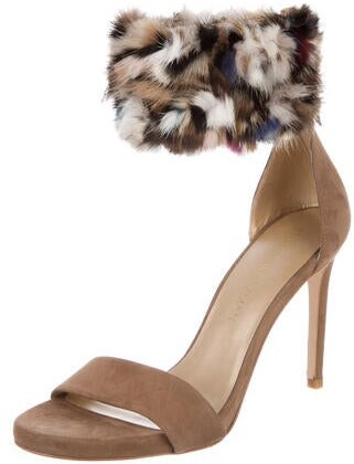 Thumbnail for your product : Stuart Weitzman Suede Fur Trim D'Orsay Pumps Brown
