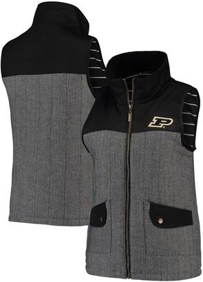 Women's Black Purdue Boilermakers Prep For It Herringbone Knit Full-Zip Vest