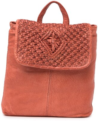 Frye Esme Straw & Leather Backpack