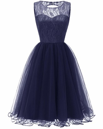 HaoHuodress Women's Tulle Cocktail Party Dress Floral Lace Knee Length Sleeveless Bridesmaid Dress Cut Out Open Back