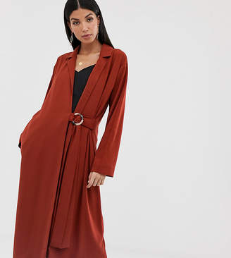 Asos Tall DESIGN Tall duster coat with faux shell trim-Red