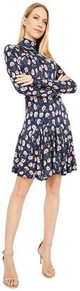 Rebecca Taylor Long Sleeve Thistle Fleur Turtleneck Dress (Black Combo) Women's Dress
