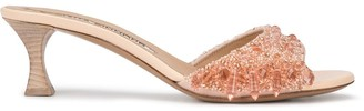 Tabitha Simmons x Brock Collection beaded kitten heel mules