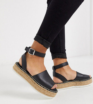 ASOS DESIGN Wide Fit Jupiter flatform espadrille sandals in black