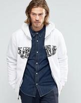 Vans Hessel Logo Zip Lined Hoodie In White V00XWJKF5